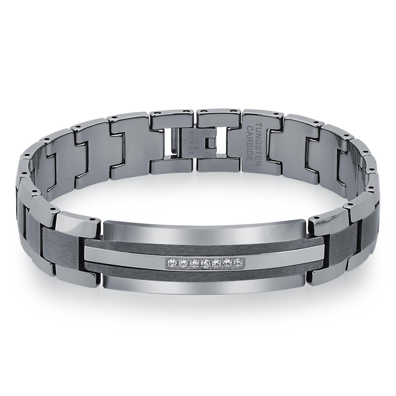 Mens Diamond Tungsten Carbide Id Bracelet (0.20 Carats, 9-Inch)