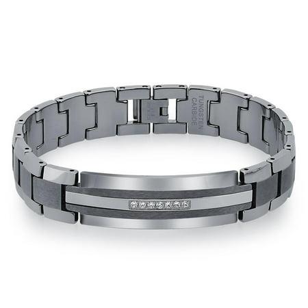 Mens Diamond Tungsten Carbide ID Bracelet (0.20 carats, 8.5 inch) ()