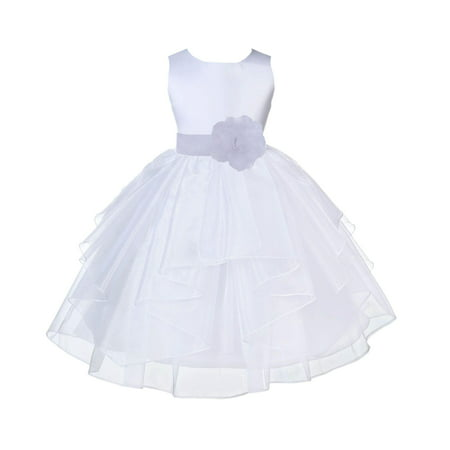 Ekidsbridal White Shimmering Organza Christmas Bridesmaid Recital Easter Holiday Wedding Pageant Communion Princess Birthday Clothing Baptism 4613T size 12-18 month Flower Girl Dress