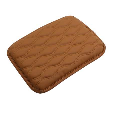 Brown Faux Leather Wavy Strip Car Seat Center Console Armrest Mat Pad