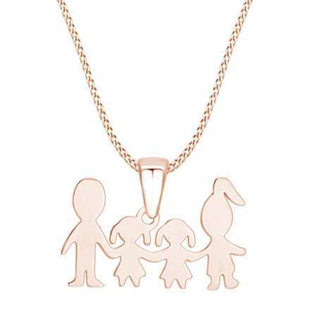 Mother's Day Jewelry Gifts Mom and Dad Love Two Daughter Pendant Necklace In 14k Rose Gold Over Sterling