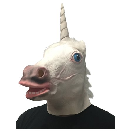 Adults Funny Unicorn Animal Full Overhead Latex Mask Costume Accessory](Funny Animal Masks)
