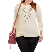Holiday Women's Plus Reindeer Pullover Sweater