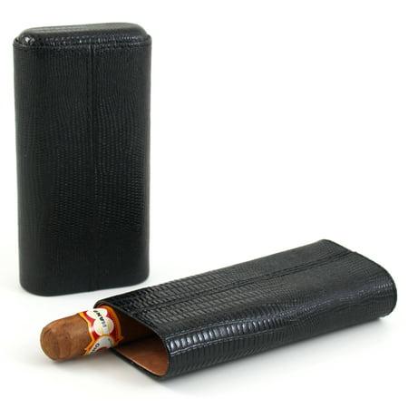 Shark Skin Black Three Finger Cigar Humidor Case