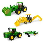 John Deere Replica Toy Tractor Value Set - Tractor, Row Crop Tractor & Bale Backhoe, 3 Piece