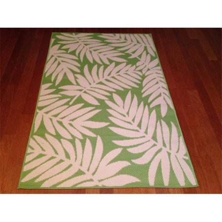 Ims 260357199Lgr Bg Floral Pattern Heavyweight Outdoor Patio Rug  44  Light Green   Beige   3 X 5 Ft