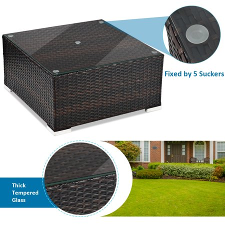 Gymax 5PCS Cushioned Rattan Patio Conversation Set w/ Coffee Table Ottoman - image 9 of 10