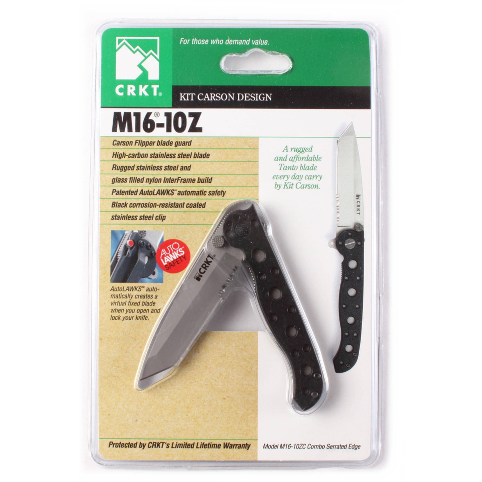 "CRKT M16-10Z Knife, 3"" Folding Blade, Triple Point Serration Tanto, Black/Stainless"
