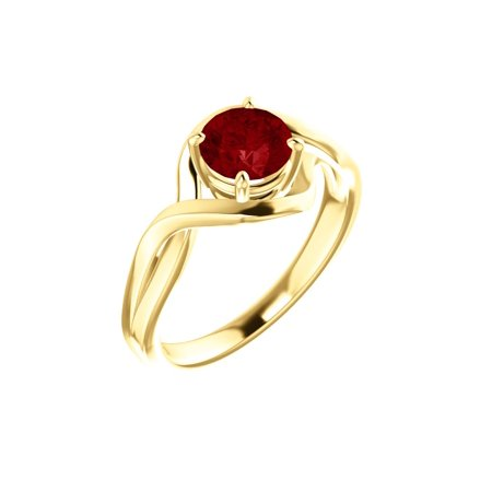 14k Yellow Gold Gem Quality Chatham® Lab-Grown Ruby Solitaire Infinity Gemstone