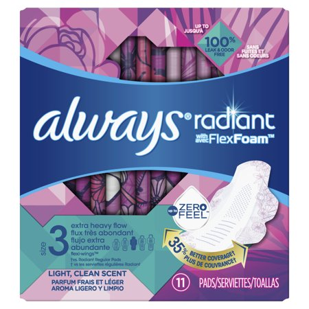 ALWAYS Radiant Extra Heavy Flow Sanitary Pads Size 3 Light Clean Scent With Wings, 11