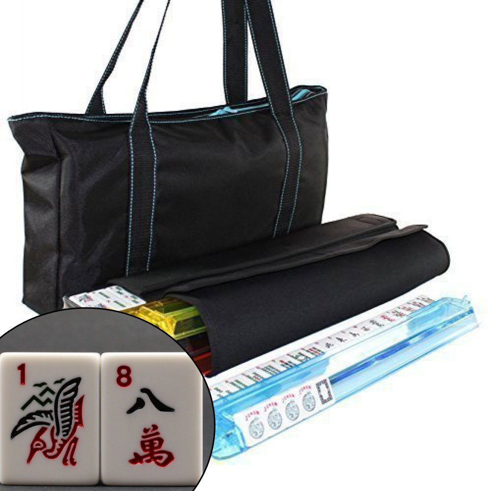 Brand New American Mahjong Set Waterproof Black Nylon wtih Blue Stitches Bag 4 Color Pushers/Racks Western Mahjongg