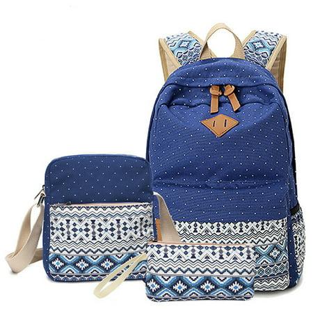 Deep Blue Lightweight Canvas school Backpack for Teen Girls, School Light Blue Shoulder Bags for Girls ()