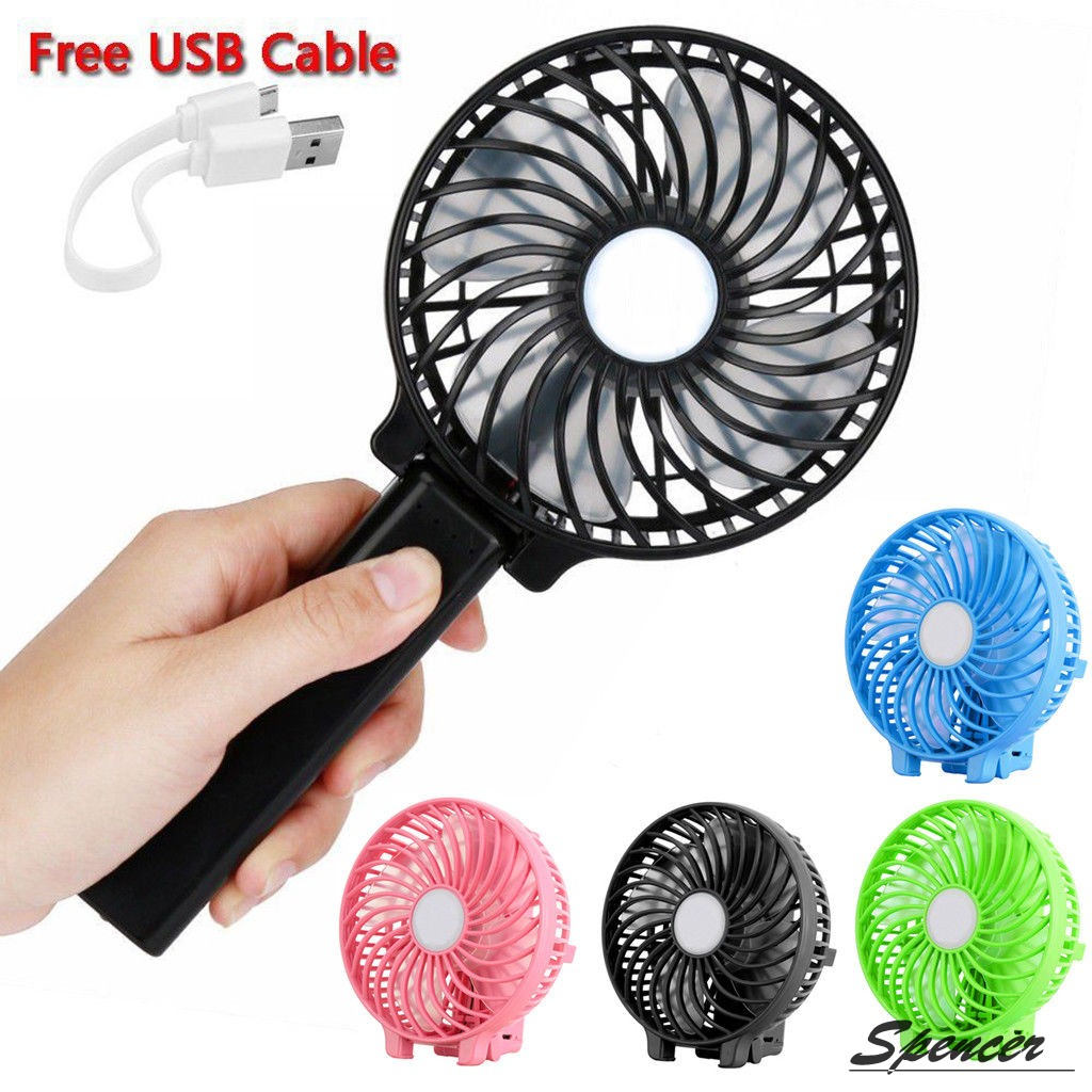 """Spencer 1200mAh Battery Handheld Mini Fan Rechargeable Foldable USB Personal Cooling Fan """"Pink"""""""