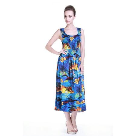 Mother & Daughter Matching Hawaii Luau Maxi Plus Size Dress Girl Tunic in  Sunset Blue 2