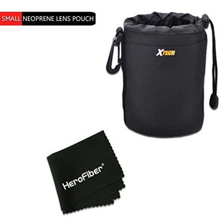 Xtech Small Soft Neoprene Lens Pouch for Canon, Nikon, Fuji, Leica, Sony, Panasonic, Pentax, Sigma, Tamron, Vivitar, Konica & Minolta