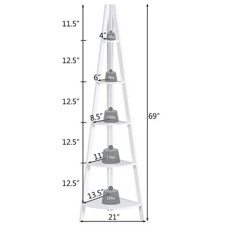 Floor Stand Strong 5 Tier Corner Ladder Shelf  Shelves Bookshelf Home Bookcase