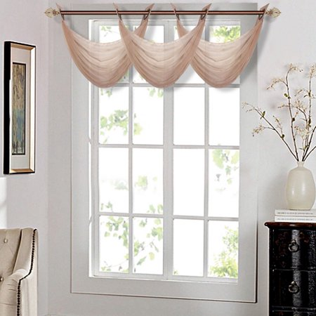 "K36 TAUPE 1-PC Solid Voile Sheer WATERFALL Valance Window Treatment With 2 Grommets On Top 55""in Wide X 24""in Length"