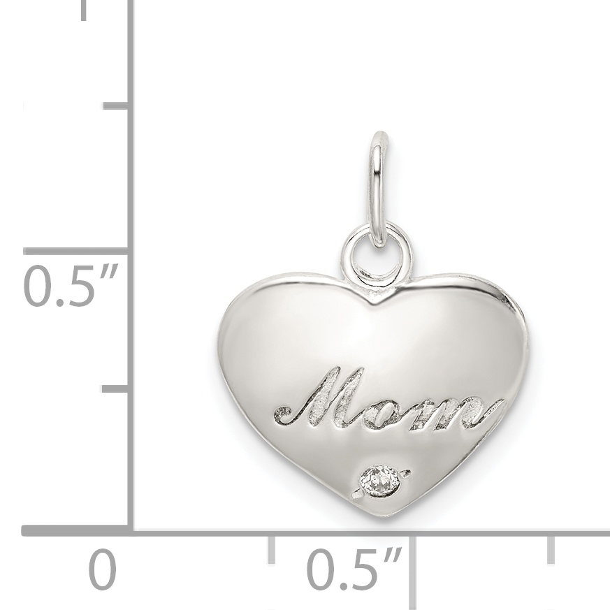 Sterling Silver Synthetic CZ Polished Mom Pendant