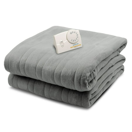 Biddeford Blankets Comfort Knit Heated Electric Blanket, Twin, Gray