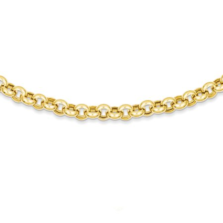- 14k Yellow Gold 18 Inch 7mm Rolo Cuban Link Chain Necklace Pendant Charm Fancy Gifts For Women For Her