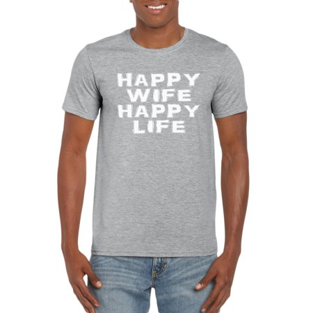 Happy Wife Happy Life Husband T-Shirt Gift Idea for Men (Husband And Wife Halloween Costume Ideas)