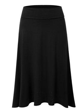 Doublju Women's Basic Soft Stretch Mid Midi Flare Flowy Skirt BLACK S