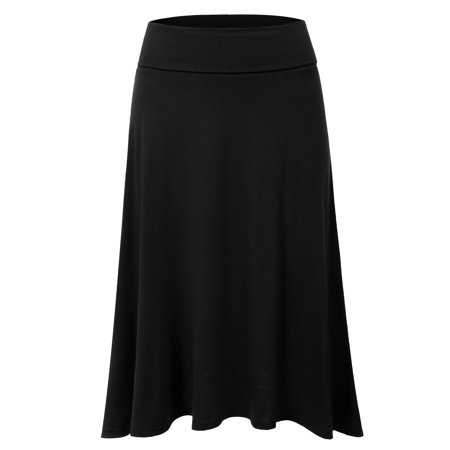 Doublju Women's Basic Soft Stretch Mid Midi Flare Flowy Skirt BLACK S (Poodle Skirts For Women)