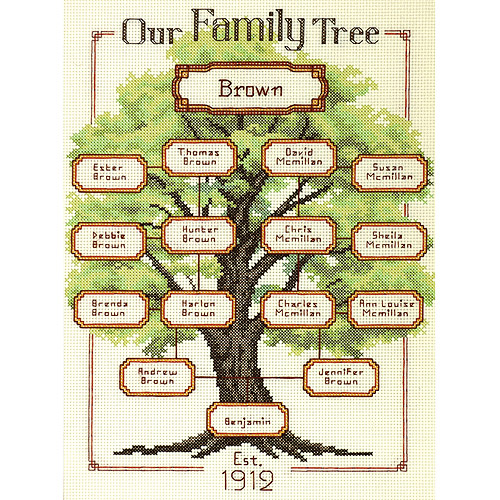 "Dimensions Our Family, Family Tree Counted Cross Stitch Kit, 9"" x 12"", 14-Count"
