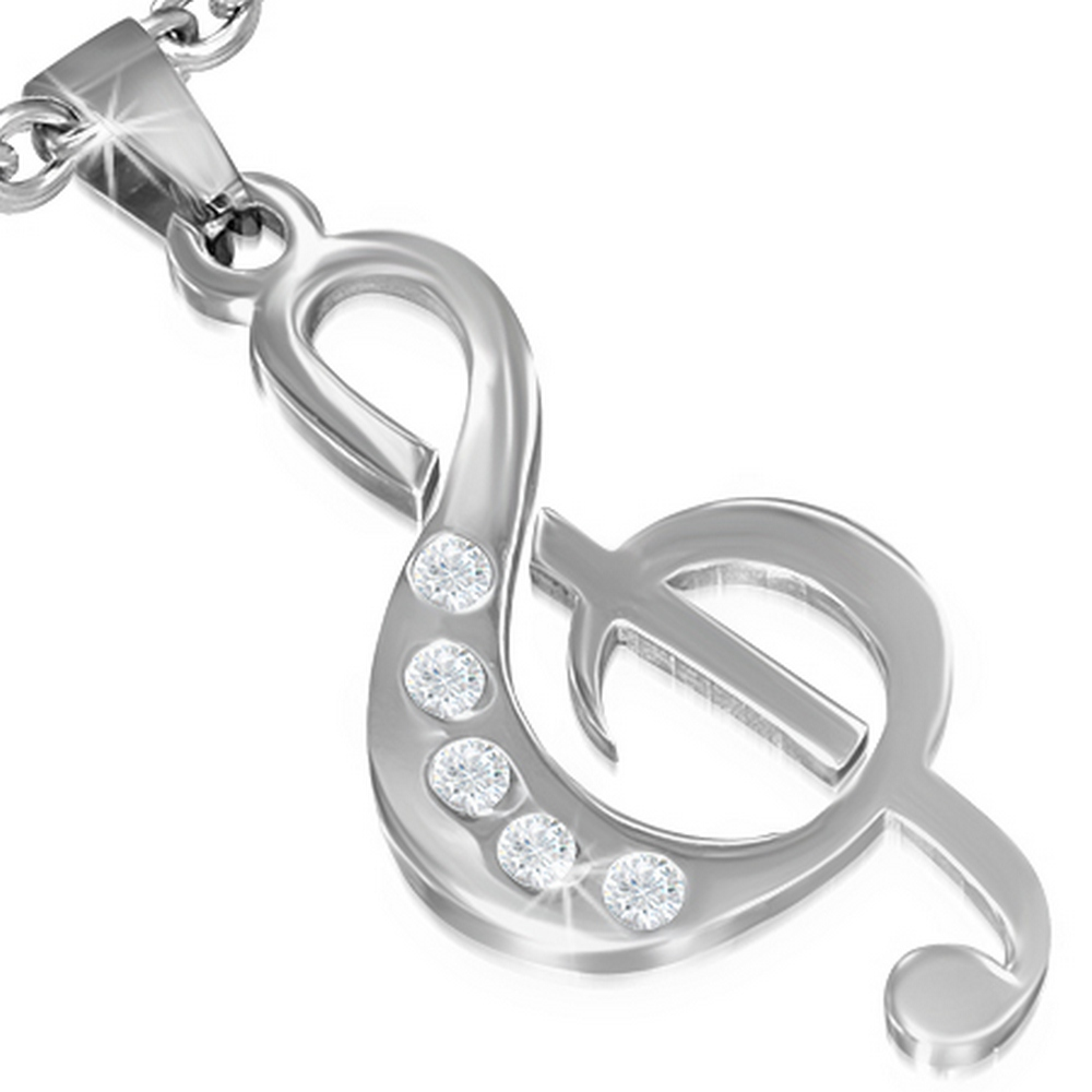 Stainless Steel Silver-Tone White CZ Music Musical Clef Note Pendant Necklace, 20""