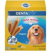 Pedigree Dentastix Large Dental Dog Treats, Original, 15.6 Oz. Pack (18 Treats)