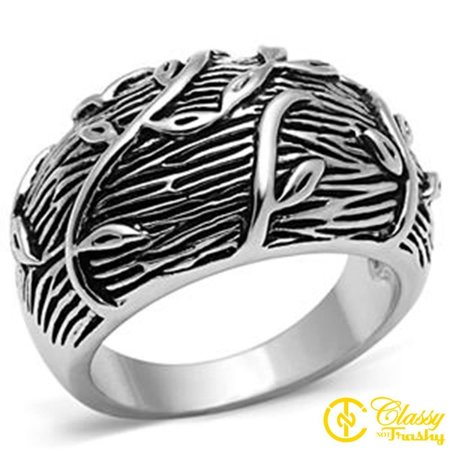 Classy Not Trashy® Size 8 Women's Rhodium Plated Vines Upon Tree Textured Dome - Rhodium Plated Dome