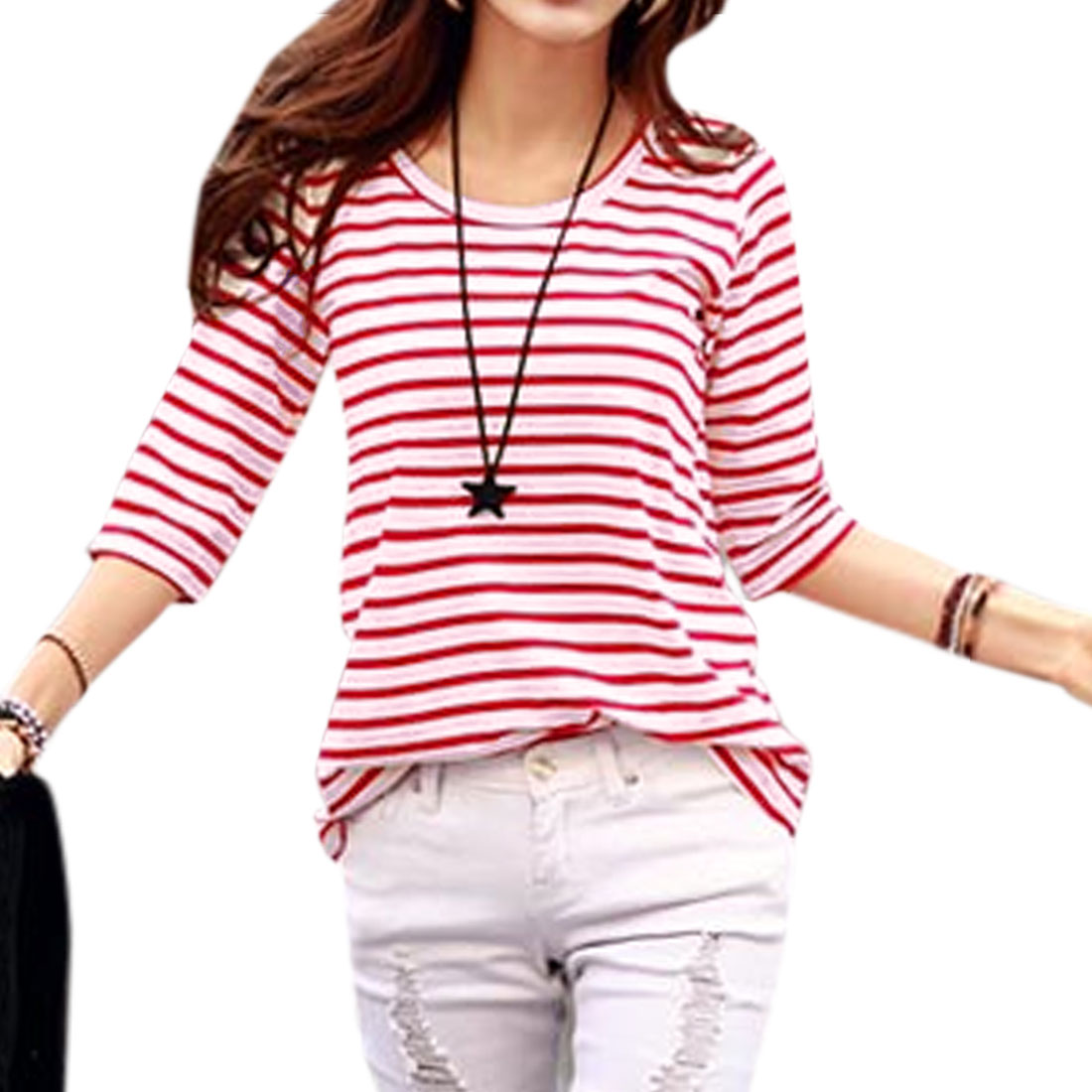 Women Round Neck 3/4 Sleeve Pullover Stripes Casual T-Shirt Red S