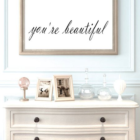 You're Beautiful Vinyl Decal Removable Mirrors Room Wall Sticker Home Decoration ,Black Friday Big Sale! (Friday Stickers)