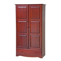 Palace Imports, 5622, Universal Wardrobe/Closet/Armoire with 1 Drawer, 2 Shelves, Lock, 100% Solid Wood, Mahogany Finish. Additional Shelves Sold Separately.