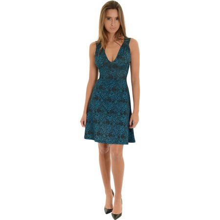 Womens Short Blue Dress V Neck Keyhole Back Arabesque Floral Print Sundress Sizes: Small
