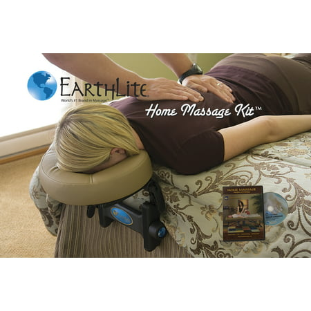 EARTHLITE Home Massage Kit - Deluxe Adjustable Headrest & Face Pillow / Home & Family Massage Made Easy with instructional