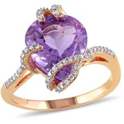 4 Carat T.G.W. Amethyst and 1/7 Carat T.W. Diamond 10kt Rose Gold Cocktail Ring