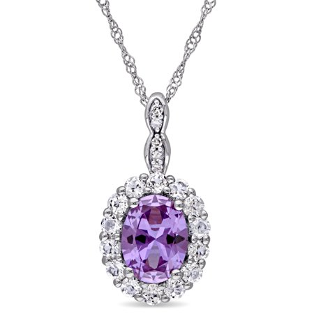 14k White Gold Created Alexandrite and White Topaz Diamond Accent Oval Shaped Halo Necklace (G-H,