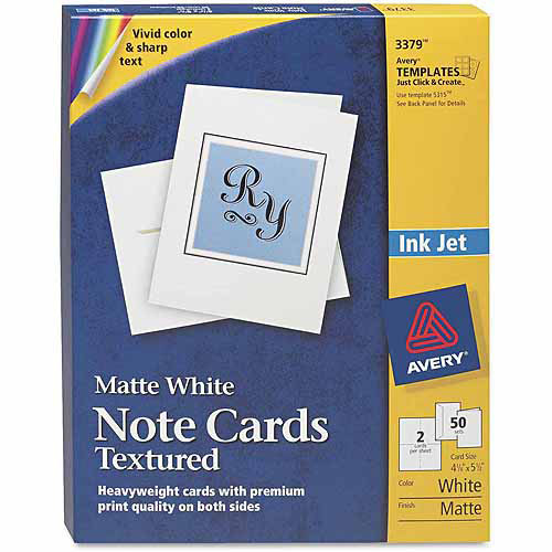 "Avery Textured Note Cards, Inkjet, 4-1/4"" x 5-1/2"", Matte White, 50-Pack"