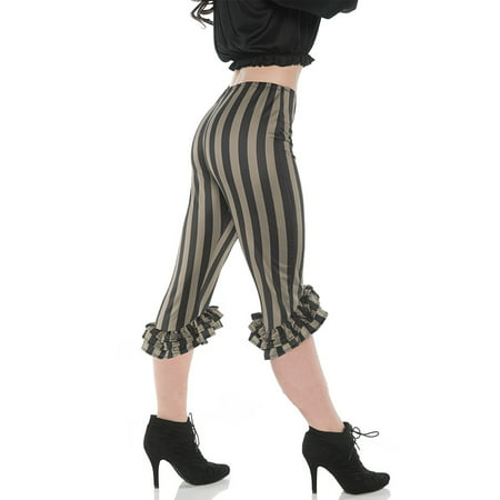 Ruffle Womens Adult Green Black Pirate Buccaneer Costume Leggings (Woman Pirate Costumes)