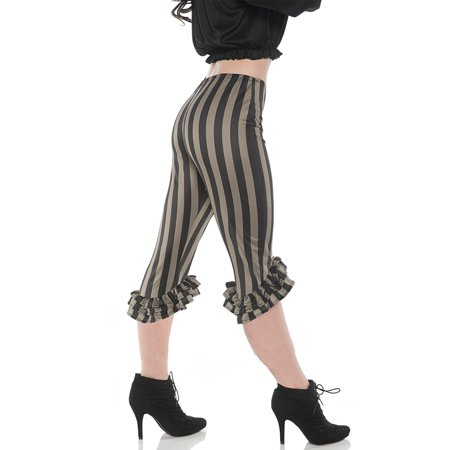 Ruffle Womens Adult Green Black Pirate Buccaneer Costume Leggings