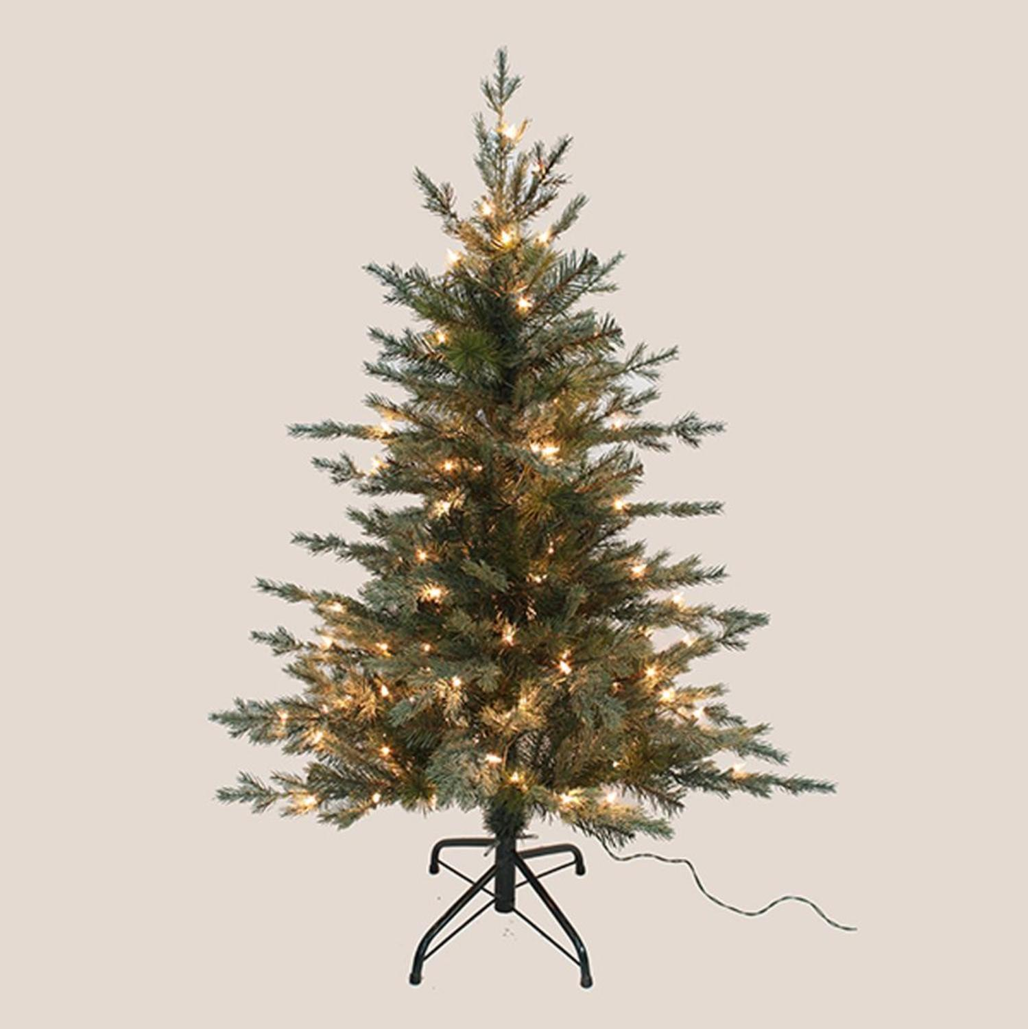 4' Pre-Lit Pea Pine Artificial Christmas Tree with Warm Clear LED Lights