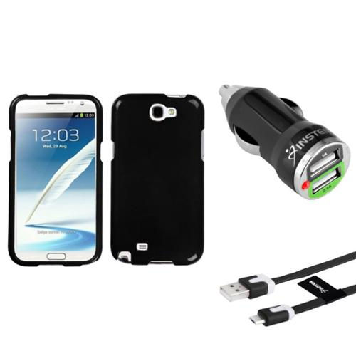 Insten Solid Black Hard Case+Flat Cable+Dual USB Charger For Samsung Galaxy Note 2 II