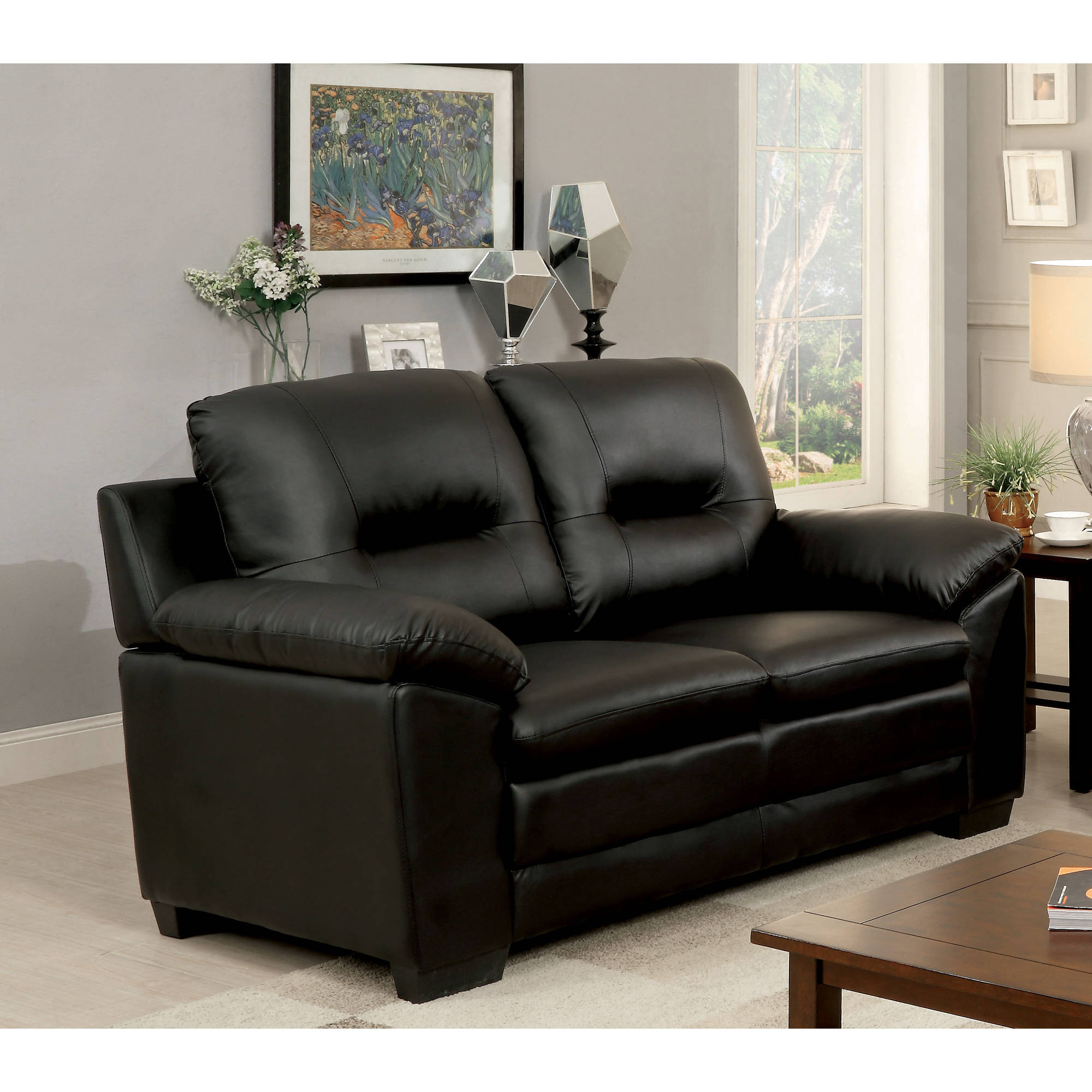 Furniture of America Truman Contemporary Leatherette Loveseat, Multiple Colors