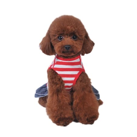 Summer Pet Dog Cute Clothes Costume Stripe Dress Tutu Denim Dress XS- XL Dog Wedding Dress](Cute Little Dog Costumes)