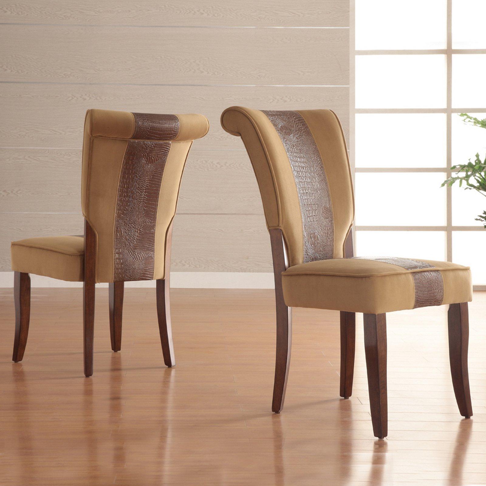 Homelegance Velvet Side Dining Chair, Set Of 2, Brown With Alligator    Walmart.com