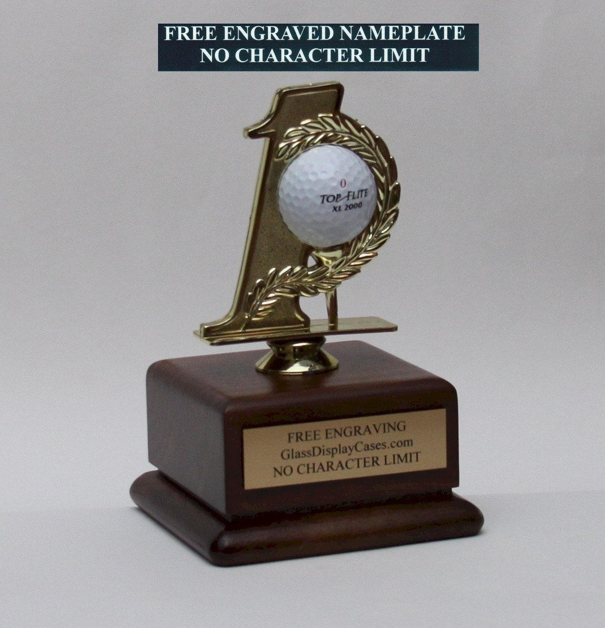 Golf Ball Hole in One #1 Display Stand - Holder - Solid Walnut Wood Platform Base - Engraved