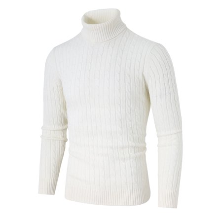 Unique Bargains Men's Long Sleeves Turtle-neck Cable Knitted Sweater Cable Knit Turtleneck Sweater