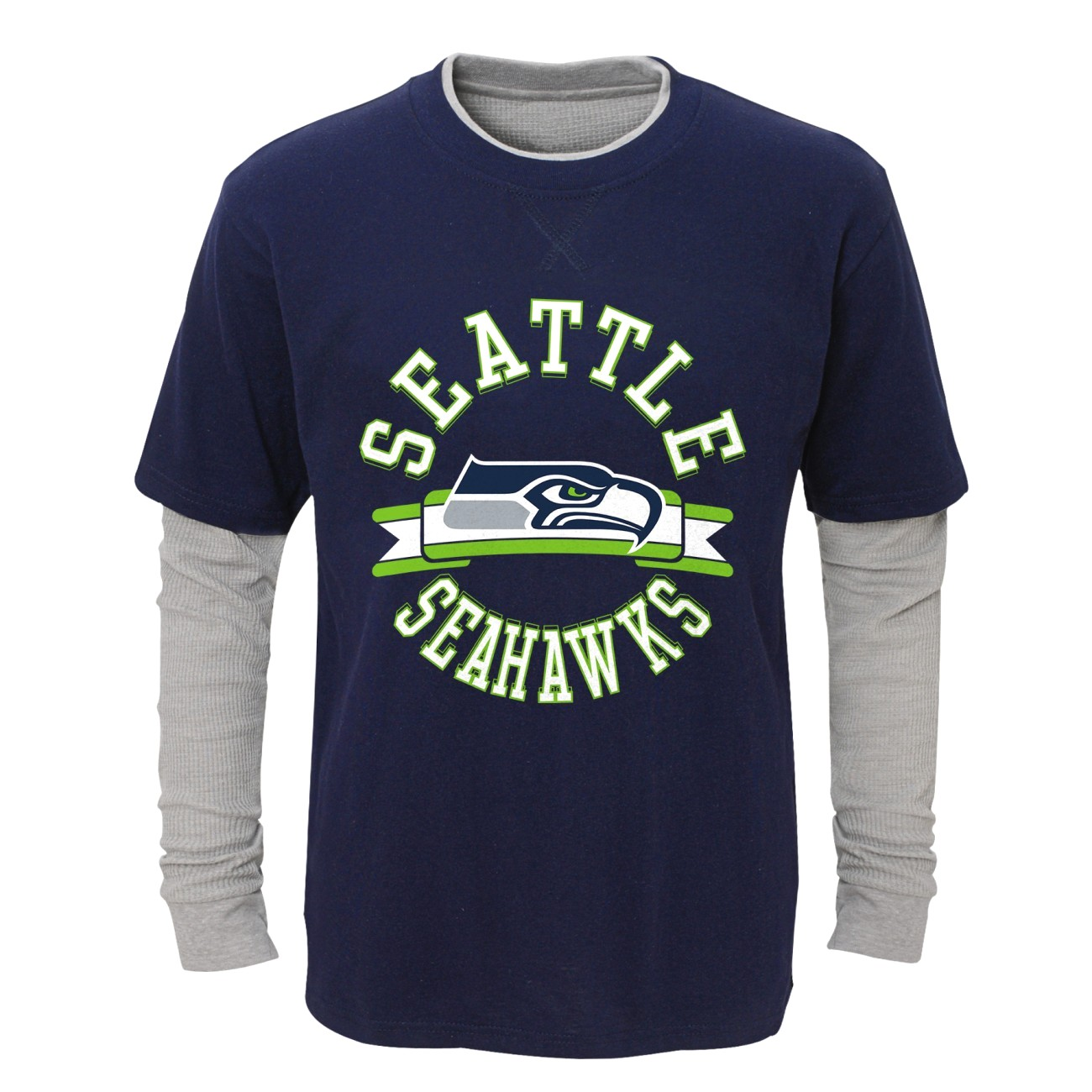 """Seattle Seahawks Toddler NFL """"Definitive"""" L S Faux Layer Thermal Shirt by Outerstuff"""