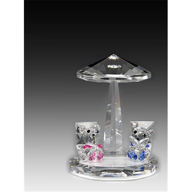 Asfour Crystal 638-1 3. 5 L x 3. 7 H inch Crystal Bears Under Umbrella Animals Figurines